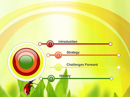 Ladybug on Grass PowerPoint Template, Slide 3, 10670, Nature & Environment — PoweredTemplate.com