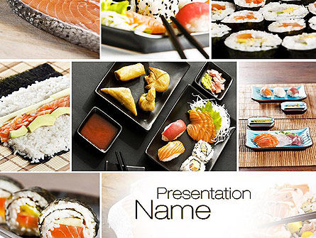 Food & Beverage: Sushi Collage PowerPoint Template #10675