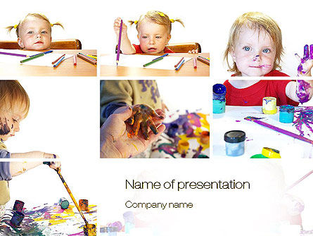 Education & Training: Child Painting PowerPoint Template #10678