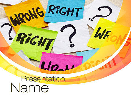Right or Wrong PowerPoint Template, 10712, Education & Training — PoweredTemplate.com