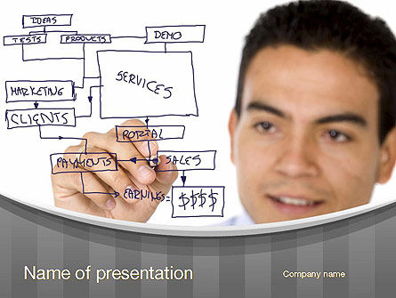 Drawing a Business Plan PowerPoint Template, 10730, Business — PoweredTemplate.com