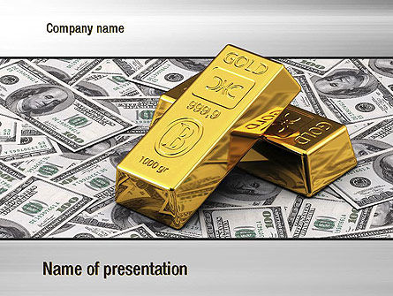 Gold Bars on Dollars PowerPoint Template