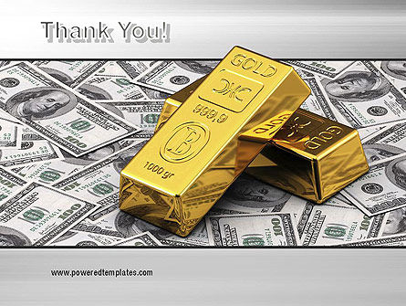 Gold Bars on Dollars PowerPoint Template Slide 20