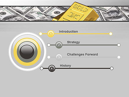 Gold Bars on Dollars PowerPoint Template Slide 3