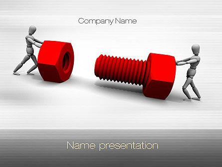 Two People Pushing Bolt PowerPoint Template