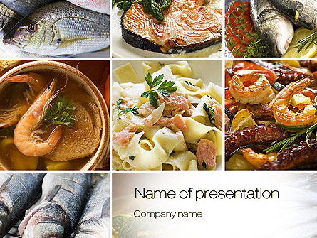 Sea Food Recipes Powerpoint Template, Backgrounds | 10779