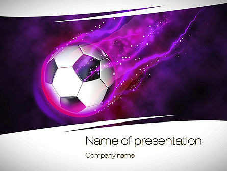 Sports: Soccer Ball on Purple PowerPoint Template #10783