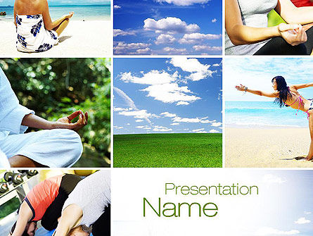 Yoga Collage PowerPoint Template, 10790, Sports — PoweredTemplate.com
