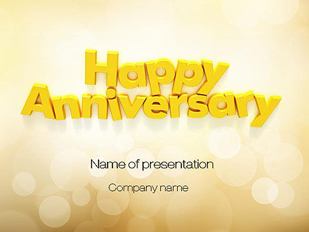 happy anniversary in yellow powerpoint template backgrounds 10799
