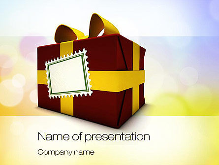 Red Gift Box PowerPoint Template