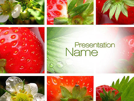 Agriculture: Strawberries Collage PowerPoint Template #10812