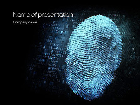 Fingerprint on Digital Screen PowerPoint Template, 10814, Technology and Science — PoweredTemplate.com