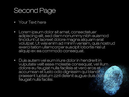 Fingerprint on Digital Screen PowerPoint Template, Slide 2, 10814, Technology and Science — PoweredTemplate.com