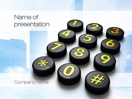 Telecommunication: Telephone Number Buttons PowerPoint Template #10826