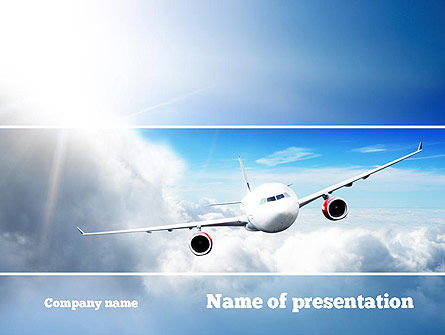 Cars and Transportation: Sky Plane PowerPoint Template #10836