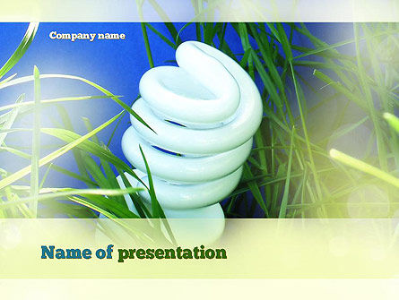 Technology and Science: Energy Saving Bulb PowerPoint Template #10853