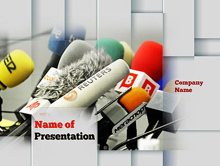 Careers/Industry: Press Conference Microphones PowerPoint Template #10858