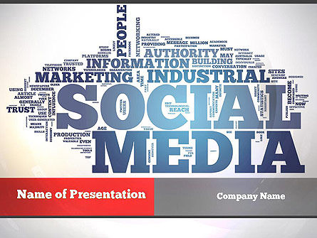 Careers/Industry: Social Media Word Cloud PowerPoint Template #10871