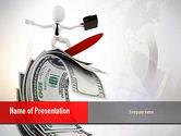 Financial/Accounting: Man Surfing on Money PowerPoint Template #10887