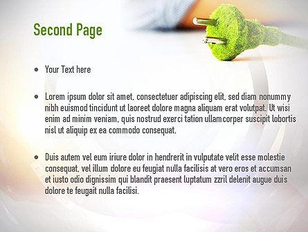 Green Plug PowerPoint Template, Slide 2, 10890, Nature & Environment — PoweredTemplate.com