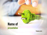 Nature & Environment: Green Plug PowerPoint Template #10890