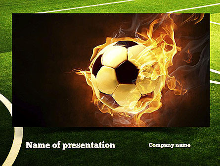 Football in Fire Flame PowerPoint Template