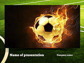 Sports: Football in Fire Flame PowerPoint Template #10931