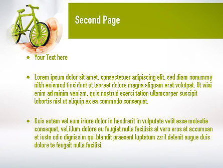 Green Bicycle PowerPoint Template, Slide 2, 10932, Nature & Environment — PoweredTemplate.com
