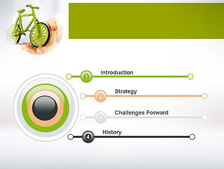 Green Bicycle PowerPoint Template, Slide 3, 10932, Nature & Environment — PoweredTemplate.com