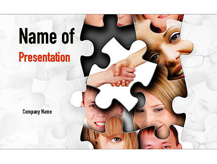 People: Human Faces Puzzle PowerPoint Template #10946
