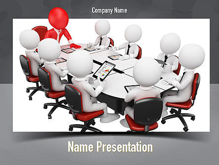 3D Man Business Meeting PowerPoint Template, 10984, Business — PoweredTemplate.com