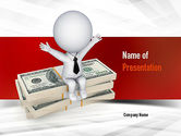 Financial/Accounting: Sitting on Dollar Packs PowerPoint Template #10987