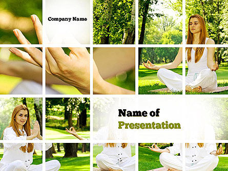 Yoga Outdoors PowerPoint Template, 10995, People — PoweredTemplate.com