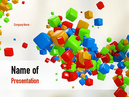 3D Colored Cubes PowerPoint Template