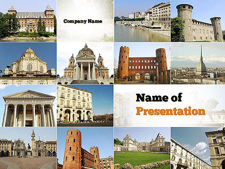 Flags/International: Turin Landmarks Collage PowerPoint Template #11005