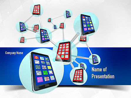 Smartphones Network PowerPoint Template, 11017, Technology and Science — PoweredTemplate.com