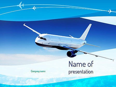 Cars and Transportation: Airplane in the Sky PowerPoint Template #11052