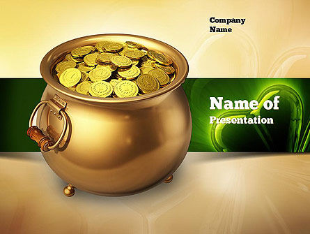 Holiday/Special Occasion: Pot of Gold Coins PowerPoint Template #11059