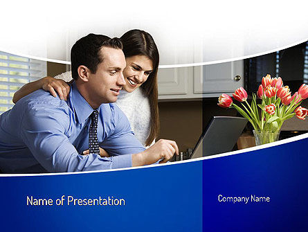 Couple Looking at Laptop Computer PowerPoint Template, 11060, People — PoweredTemplate.com