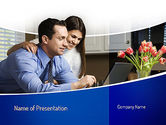 People: Couple Looking at Laptop Computer PowerPoint Template #11060