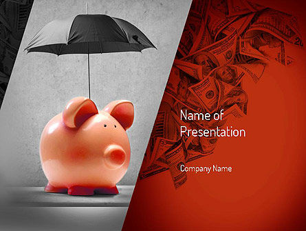 Financial/Accounting: Savings Under Umbrella PowerPoint Template #11084
