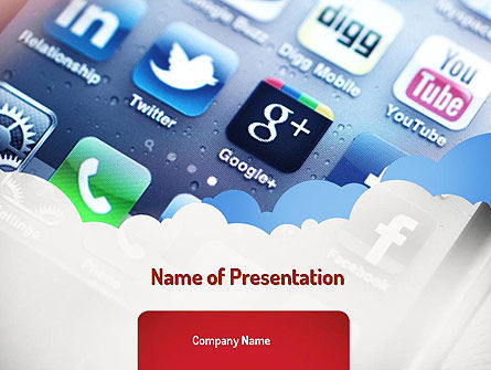 Social Media Applications PowerPoint Template, 11088, Technology and Science — PoweredTemplate.com