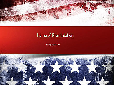 America: Painted American Flag PowerPoint Template #11089