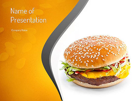 Tasty Burger PowerPoint Template, 11097, Food & Beverage — PoweredTemplate.com
