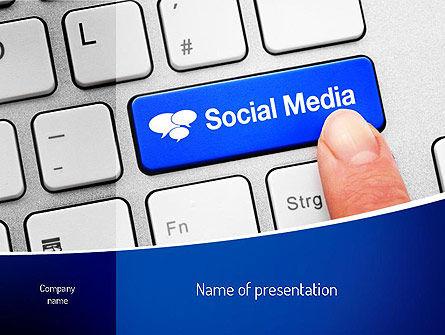 Social Media Keyboard PowerPoint Template, 11100, Telecommunication — PoweredTemplate.com