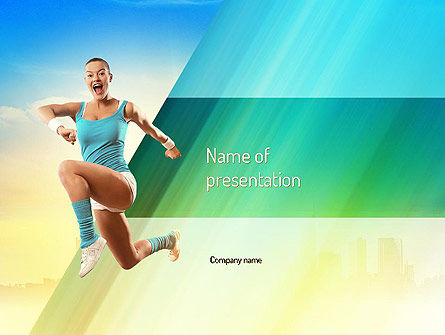 Girl Running PowerPoint Template, 11109, Sports — PoweredTemplate.com