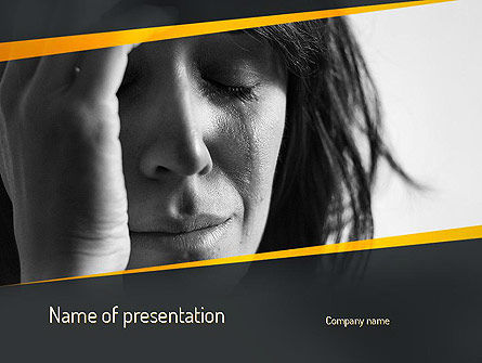 Distraught Woman PowerPoint Template, 11128, People — PoweredTemplate.com