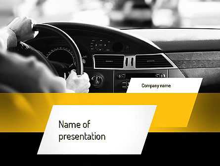 Driving a Car PowerPoint Template, 11131, Cars and Transportation — PoweredTemplate.com