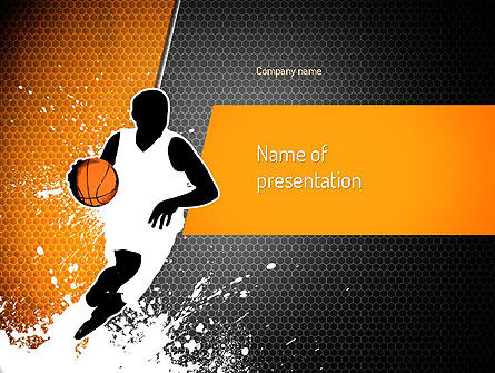 Basketball Man PowerPoint Template, 11140, Sports — PoweredTemplate.com