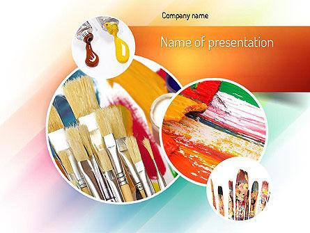 Paintbrushes PowerPoint Template, 11155, Art & Entertainment — PoweredTemplate.com
